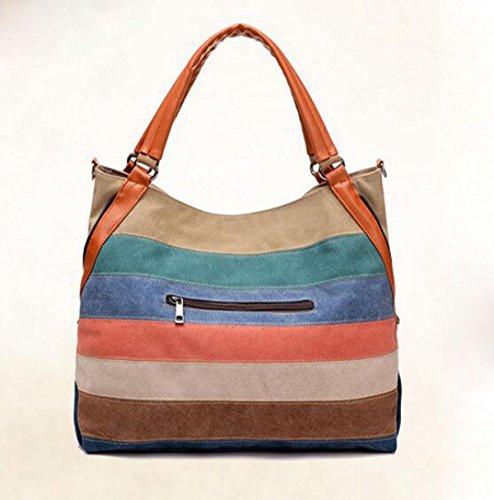 Hombro Oblicuo A Través Del Paquete Arco Iris Golpear Color Casual Femenino Paquete Bolsa De Lona Retro Simple Multi