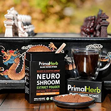 Brain Supplement for Focus, Energy, Memory Clarity Nootropics Stack by Primal Herb Herbal Extract Powder with Lions Mane Mushroom Reishi Spores – 82 Servings – Includes Bamboo Spoon