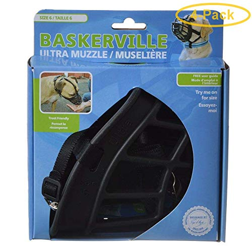 Baskerville Ultra Muzzle for Dogs Size 6 - Dogs 80-150 lbs - (Nose Circumference 16'') - Pack of 4