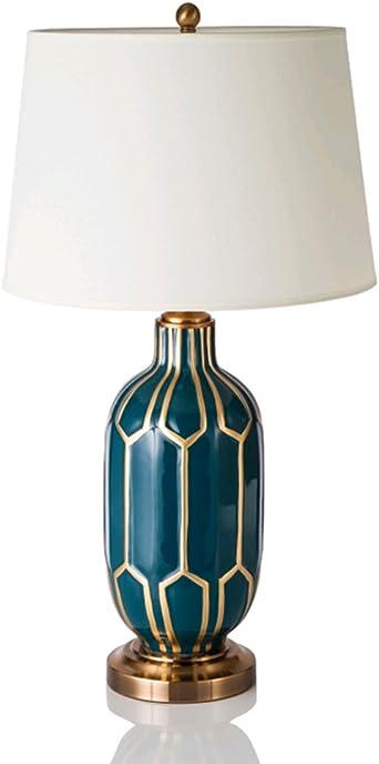 Lampe de Table Moderne LED Bleu Grille Céramique Petite Nuit