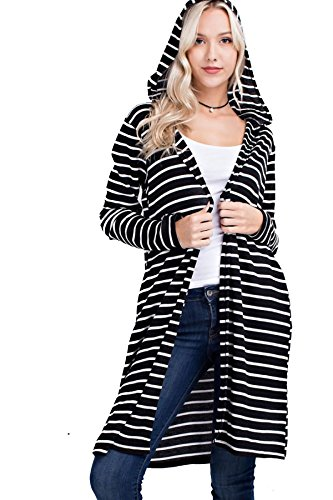 Mittoshop Women's Junior Long Thermal Stripe Hoodie Cardigan W/ Pockets J3035 (S, Black/ Ivory)