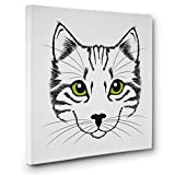 Cat Face With Green Eyes CANVAS Wall Art Home Décor