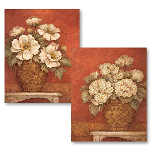 Gango Home Decor Beautiful Reproductions of Villa Flora Peonies & Hydrandeas Paintings; Two 11x14 Poster Prints