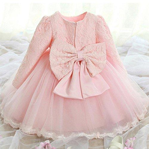 Saingace Kleinkind Baby Mädchen Denim Kleid Langarm Prinzessin Tutu Kleid Cowboy Kleidung Rosa