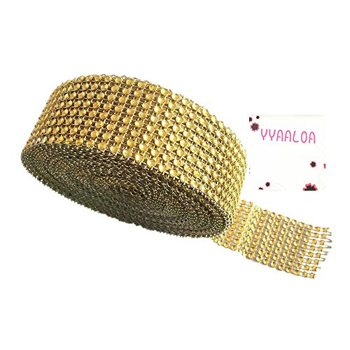Y&Y Star 10 Yards 30ft 8 Row Gold Diamond Rhinestone Mesh Ribbon Bling Bling Wrap Bulk(8Row Gold) (Stand Candle Star)