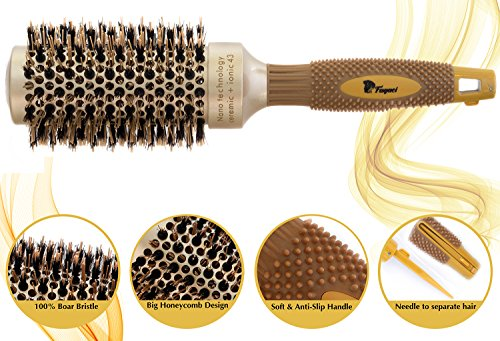 Fagaci Round Brush for Blow Drying with Natural Boar Bristle, Professional Round Hair Brush Nano Technology Ceramic + Ionic for Hair Styling, Drying, Healthy Hair and Add Volume + 4 Styling Clips by Fagaci (Image #1)