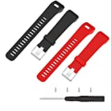 (US) ECSEM Replacement Soft Silicone Bands and Straps for Garmin vivosmart HR+ ONLY (not for vivosmart hr) (2pc(Black + Red))