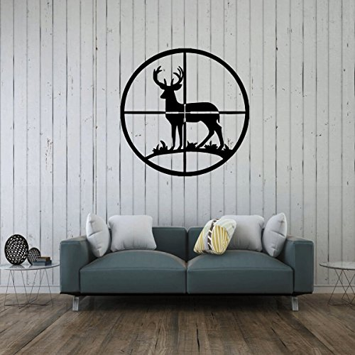 Deer Wall Decor - In The Sights Vinyl Art Decal Sticker - Hunter Decor for Home, Log Cabin or Man Cave