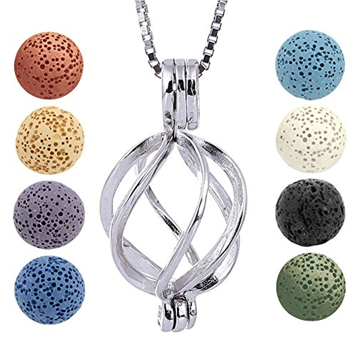 Essential Oil Necklace Aromatherapy Diffuser Locket Pendant 8 Lava Rock Stone Beads