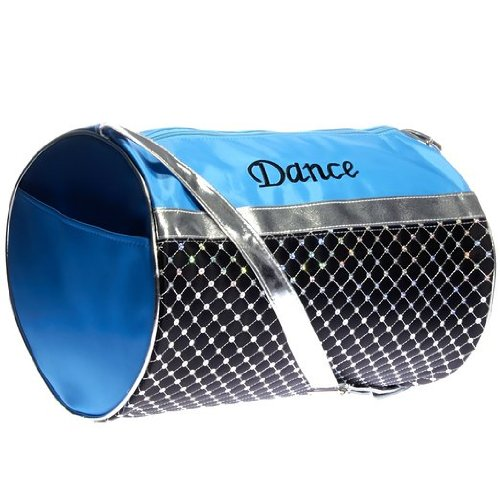 Girls Dance Turquoise Black and Silver Sequin Duffel Bag