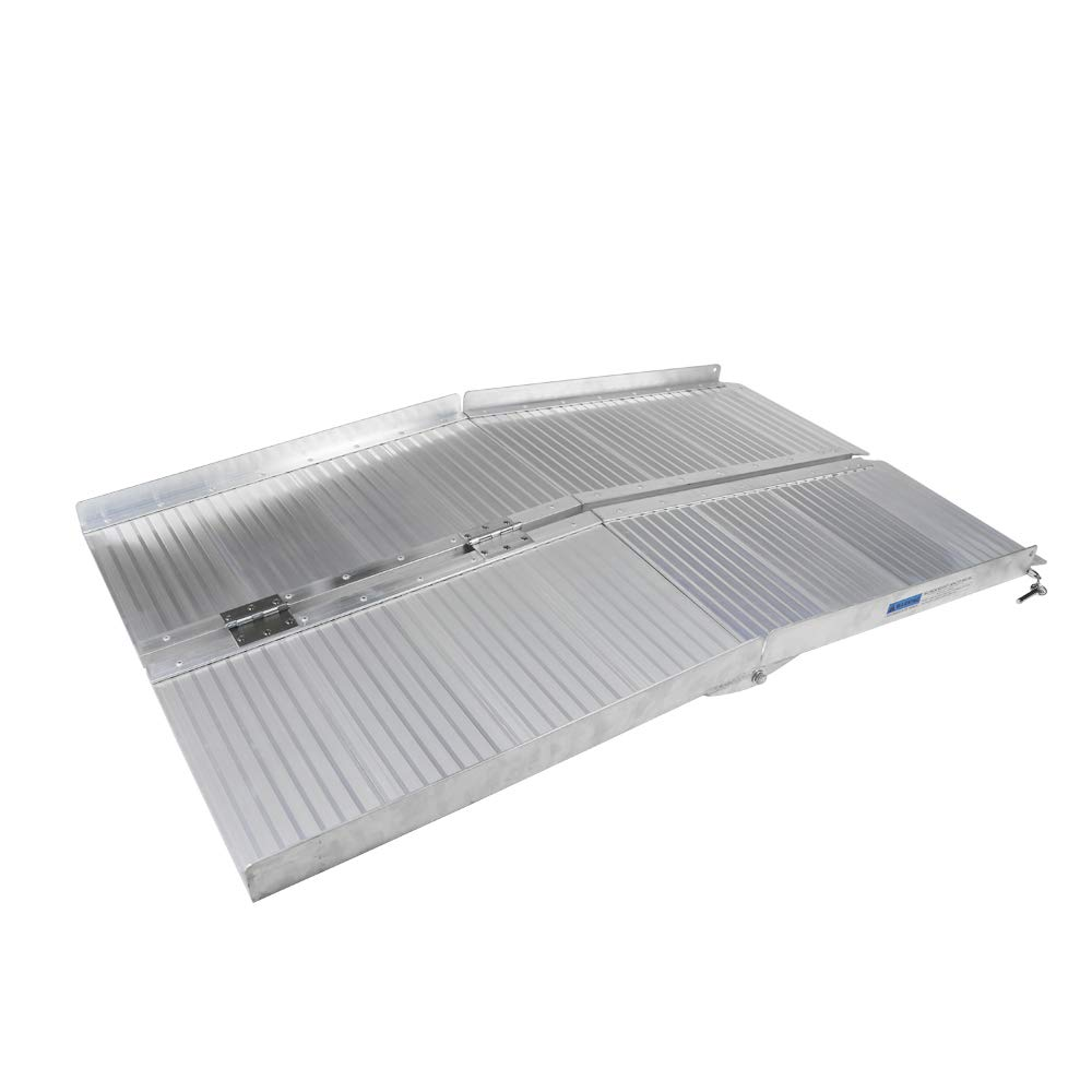TOYEEKA Folding Aluminum Wheelchair Ramp Scooter Mobility Ramp Suitcase Handle(Silver,48.03''Length)