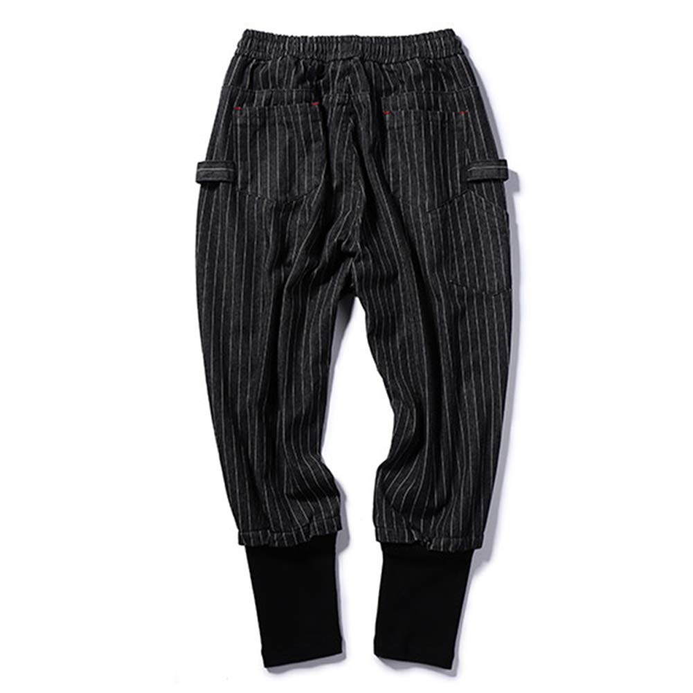 SXELODIE Jeans Mens Loose Stripe Stitching Elastic Band Hip Hop Denim Trousers