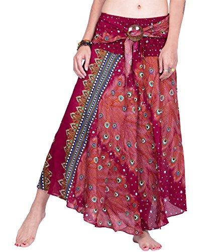 Cotton Summer Skirt (Rita & Risa Women's Bohemian Hippie Maxi Peacock Print Elastic Waist Long Skirt (Orange))