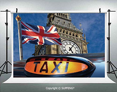 Background Union Jack Flagon Pole and Big Ben Taxi Cab Urban Modern Country Symbols Image 3D Backdrops for Interior Decoration Photo Studio -