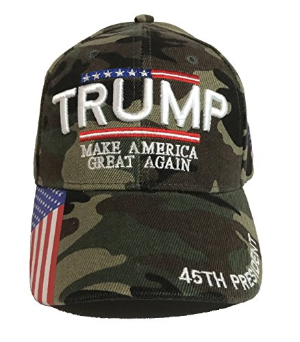 W4W Trump - Make America Great Again 3D Embroidery American Flag Baseball Cap Camo