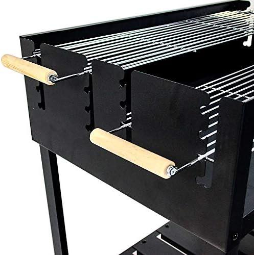 JOM Barbecue, Grill, Smoker au Charbon Acier Inoxydable 114cm x 57cm x 89cm, Surface de grillade 75cm x 50cm, 2X grilles à réglage dissocié, 2 Roues de déplacement