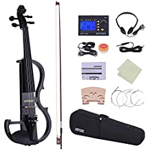 ammoon Full Size 4/4 Style-2 Electric Silent Violin Fiddle Solid Ebony Fingerboard