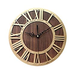 Classic Wooden Wall Clock Vintage Dia Large Iron Metal Indoor Wall Clock Bucket Cover Novelty Decorative Home Office Silent Non-Ticking Quartz Rustic Country 12 inch Arabic Numeral Battery Operated