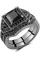 Caperci 2.0ct Black CZ Diamond Wedding Engagement Ring Bridal Set Princess Cut Black 925 Sterling Silver