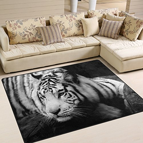 Naanle Animal Tiger Area Rug 5'x7', Mysterious Tiger in Black and White Polyester Area Rug Mat for Living Dining Dorm Room Bedroom Home Decorative by Naanle