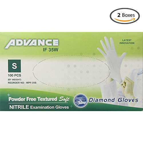 Garage Pro Black Powder (Diamond Gloves Advance Powder-Free Textured Soft Nitrile Examination Gloves, White, Small, 3.9 Mil, 100 Count - 2 Boxes)