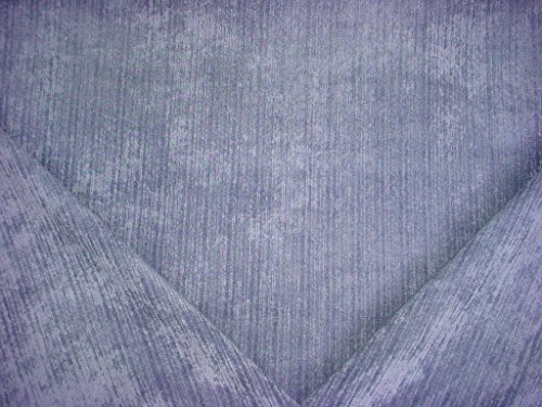 Periwinkle - Purple Blue Velour Velvet Stripe Strie Stria Plains Designer Upholstery Drapery Fabric - By the Yard (Strie Stripe)