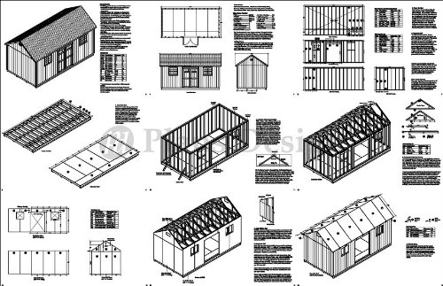 Building Blueprints Shed Plans 10' x 20' Reverse Gable Roof Style Design # D1020G, Material List Included