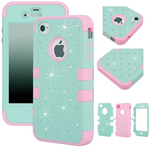 Majesticase® iPhone 4/4S Case - 3 Layers Diamante Bling Crystals Full Body Hybrid Armor Protection Cover + FREE Stylus in Green/Pink (Iphone 4 Cases Crystal compare prices)