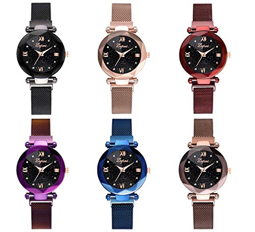 (Starry Sky Watch for Women, Crystal Dial Analog Quartz Wristwtach with Magnetic Mesh Steel Band Bravetoshop P9830 (one Size, Multicolor))