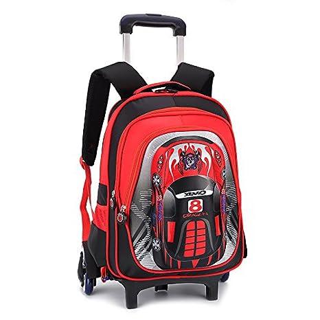 Cartoon MinegRong coche ruedas Kids trolley con ruedas mochila extraíble bolsas Mochila escolar de niños varones bolsas de viaje para niños mochilas ...