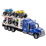 """Toy Truck Transporter Trailer Semi Truck 14.5"""" Children's Friction Toy Truck w/ 4 Toy ATVs, No Batteries Required (Blue Truck)"""