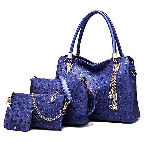 di donne della portafoglio 2 4pcs Borsa mano di insieme elaborazione totalizzatore di di della cuoio delle borsa del supporto della carta dell'unità modo dell'oro blu del spalla dqqwvT