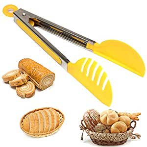 Nylon / Stainless Steel Bread Tongs Tong BBQ Cooling Food Salad Serving Kitchen Color Random
