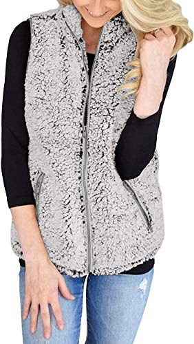 AIMICO Womens Sherpa Fleece Vest Winter Casual Warm Jacket Zip Up Sleeveless Outwear Coat Creamy White M