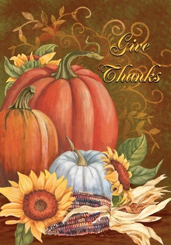 (Give Thanks Medley - Garden Size 12 Inch x 18 Inch Decorative Flag)