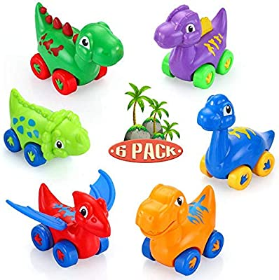 VATOS Baby Dinosaur Toy Car, 6 Pack Pull Back Car Toys for 1 2 3 Year Old Boy & Girl | Dino Car Toys for Toddler & Kids Toy Car Regalos creativos