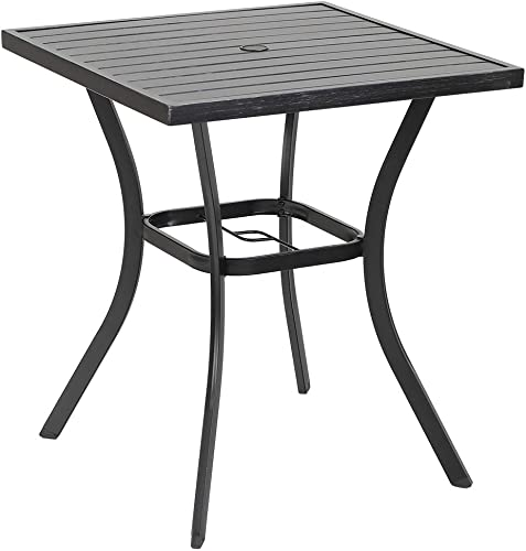 PHI VILLA Outdoor Patio 31 Square Height Bar Table with Umbrella Hole – 36 Height Coating Old Craft