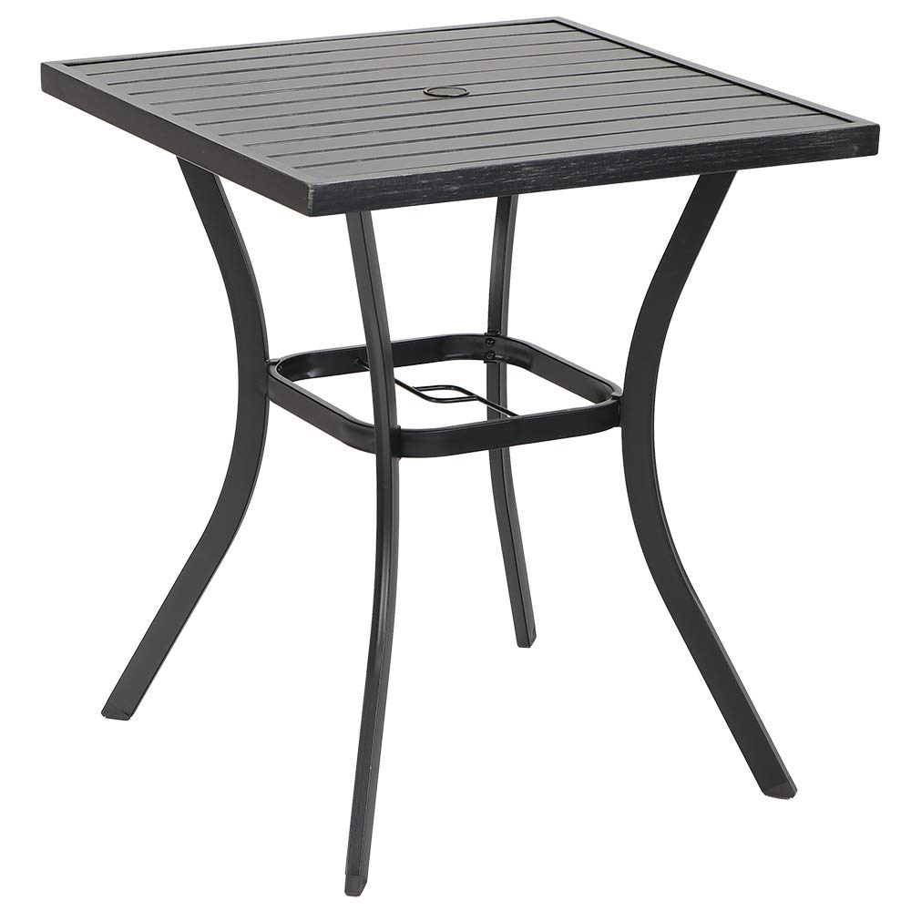 """PHI VILLA MF Outdoor Patio 31"""" Square Height Bar Table with Umbrella Hole - 36"""" Height Coating Old Craft"""