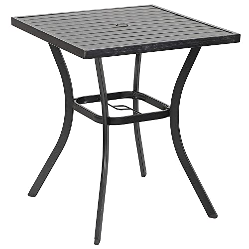 MF Outdoor Patio 31 Square Height Bar Table with Umbrella Hole – 36 Height Coating Old Craft