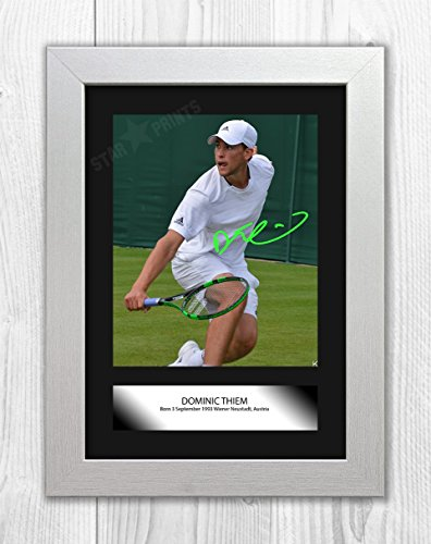 Engravia Digital Dominic Thiem (1) Poster Signed Mounted Autograph Reproduction Photo A4 Print (White Frame)