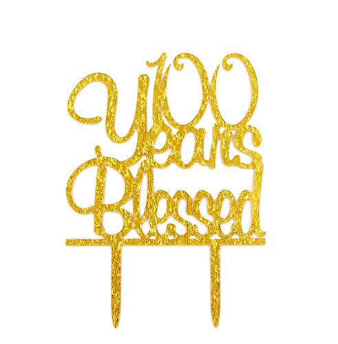 Firefairy(TM) 100 Years Blessed Acrylic Cake Topper 100th Birthday Anniversary Party Decoration Supplies(Gold) by Firefairy
