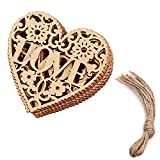NUOMI 20 Pcs Laser Cut 'Love' Wood Craft Hanging Ornaments Embellishments with Jute Twines, Wedding Party Decor, Heart Shapes, Hollow Decorative Signs, Valentine's Day Gift