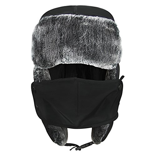 (Cartoon Winter Hats Ski Cap for Girls Boys Windproof Thermal Fleece Trapper Hat with Earflap Face Mask (#Black) )