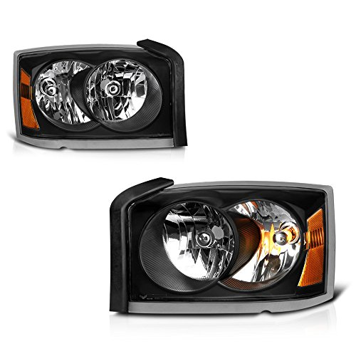 VIPMOTOZ Black Housing OE-Style Headlight Headlamp Assembly For 2005-2007 Dodge Dakota, Driver & Passenger -