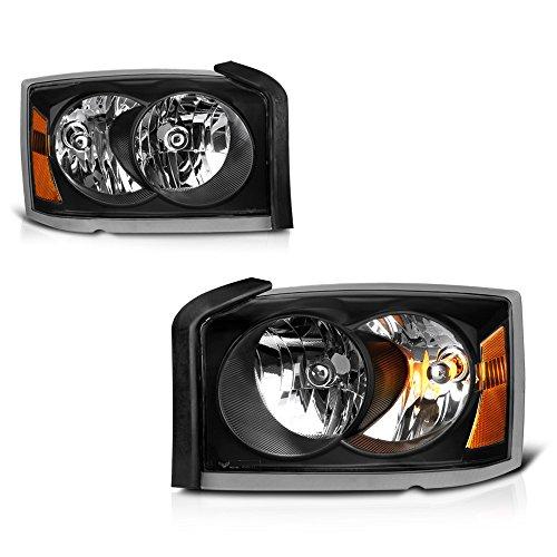 VIPMOTOZ Black Housing OE-Style Headlight Headlamp Assembly For 2005-2007 Dodge Dakota, Driver & Passenger Side Dakota Passenger Side Headlamp