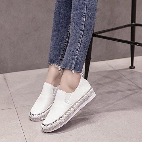 deporte mocasines de zapatos casuales planos de negro las blanco la zapatos libre de zapatillas aire de verano transpirables mujeres al GAOLIXIA Blanco cómodos Señoras PU 8qf6z