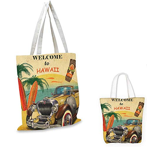 Art Shaving Of The Mask - Retro canvas messenger bag Welcome to Hawaii American Pop Art Print with Aged Car Palms Tribal Mask and Surfboards canvas beach bag Multi. 12