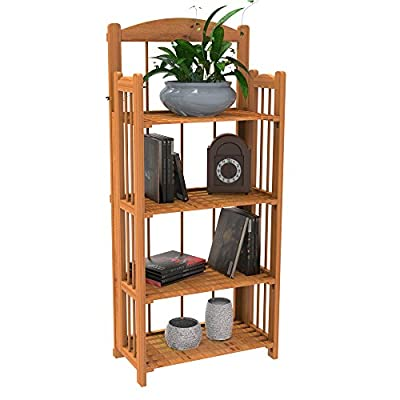 Lavish Home Bookcase for Decoration, Home Shelving, and Organization 4 Shelf, Folding Wood Display Rack for Home and Office (Light Brown) - EASY ASSEMBLY: It takes minimal effort to assemble this bookcase. The unique design allows the shelves to fold out and connect without the use of any tools. Set up takes less than a minute! LIGHTWEIGHT AND STURDY: This lightweight shelving unit makes the storage and rearrangement process uncomplicated and painless. The solid wood construction increases durability and longevity of this decorative shelf. STYLISH AND FUNCTIONAL: This decorative display shelves are suitable for any room, and match rustic, country, shabby chic, and traditional home decoration themes. This stylish home shelving unit can be used to hold books, folders, decorations, or plants. - living-room-furniture, living-room, bookcases-bookshelves - 51s35zPxMvL. SS400  -
