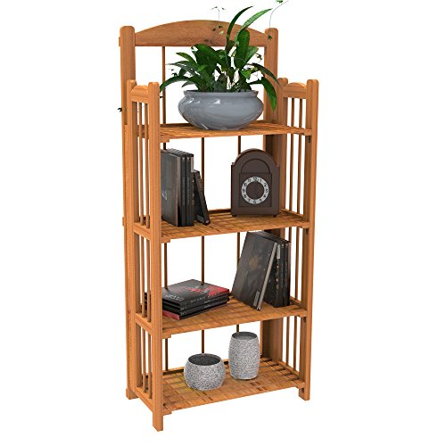 Tier 3 Folding Bookcase (Lavish Home Bookcase for Decoration, Home Shelving, and Organization 4 Shelf, Folding Wood Display Rack for Home and Office (Light Brown))