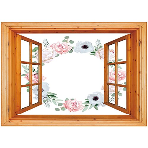 Window Delicate Decorative (3D Depth Illusion Vinyl Wall Decal Sticker [ Anemone Flower,Delicate Peony Rose Brunia Eucalyptus Leaves Round Wreath Decorative,Almond Green Light Pink White ] Window Frame Style Home Decor Art Remov)